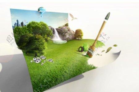 杂项创意绿色生活的画面PSD