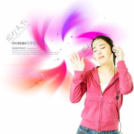 幻彩彩色修饰人物女性女孩美女图片韩国花纹图库2psd分层素材源文件