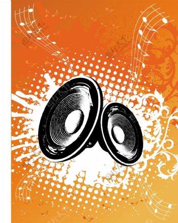 充满活力的音乐背景图案矢量素材01