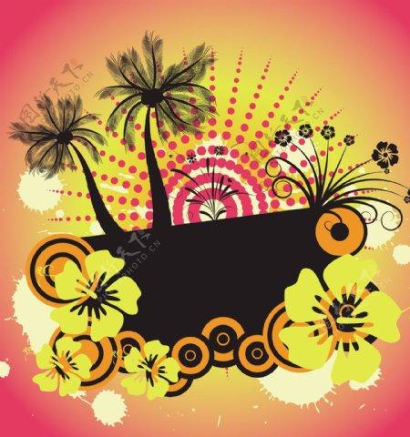 印花矢量图树色彩五颜六色椰树免费素材