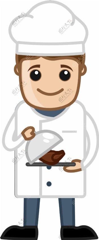 厨师把鸡卡通商业矢量字符