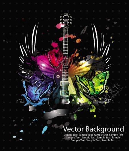 吉他飞翼音乐背景图片