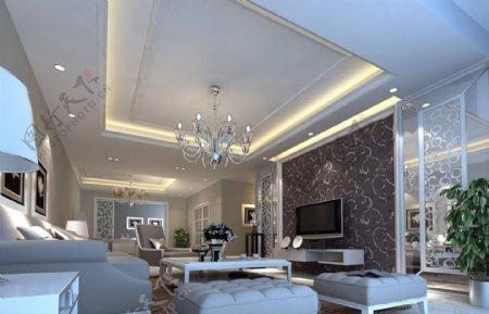 灰色壁纸客厅