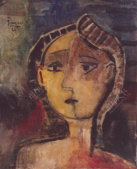 1926Bustedefemme西班牙画家巴勃罗毕加索抽象油画人物人体油画装饰画