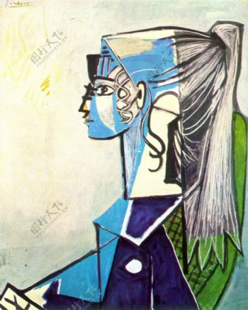1954PortraitdeSylvetteDavid24aufauteuilvert西班牙画家巴勃罗毕加索抽象油画人物人体油画装饰画
