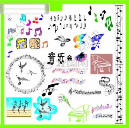矢量音符其他矢量矢量素材矢量图库AI矢量插图矢量小插图音符音乐钢琴音乐会音乐翅膀