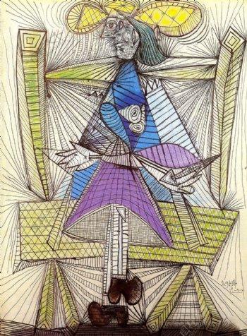 1938FemmeassiseDoraMaar西班牙画家巴勃罗毕加索抽象油画人物人体油画装饰画