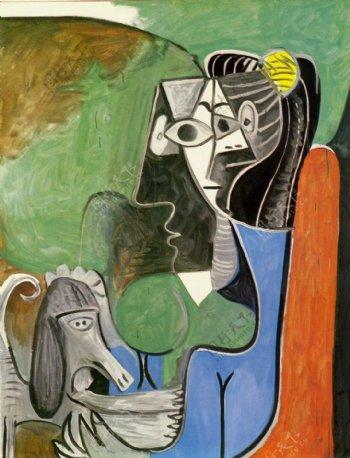 1962JacquelineassiseavecKaboul西班牙画家巴勃罗毕加索抽象油画人物人体油画装饰画