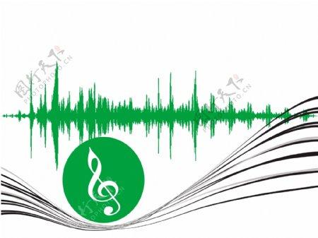用灰色壁纸波绿色音乐图标