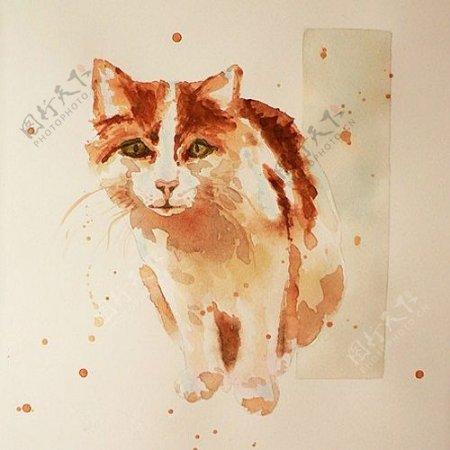 位图动物猫艺术效果手绘免费素材