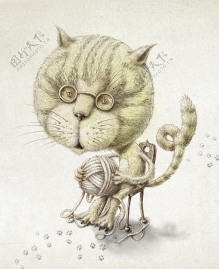位图艺术效果手绘动物猫免费素材