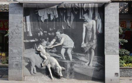 都江堰墙画图片