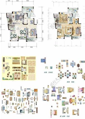 房地产户型渲染素材图片