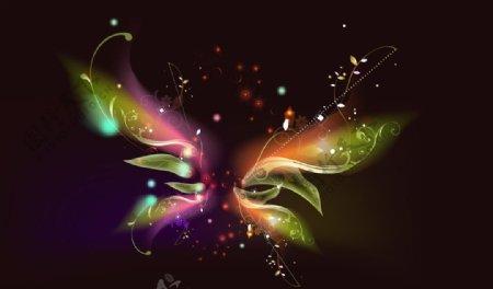 炫丽蝴蝶光线图片