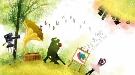 手绘卡通乐器风景插画图片