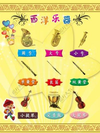西洋乐器展板图片