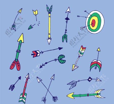 手绘箭和箭靶