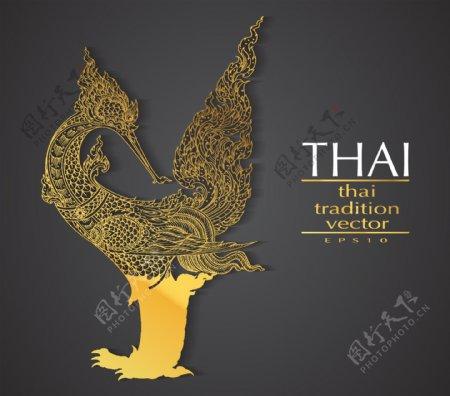 传统金色的凤凰插画