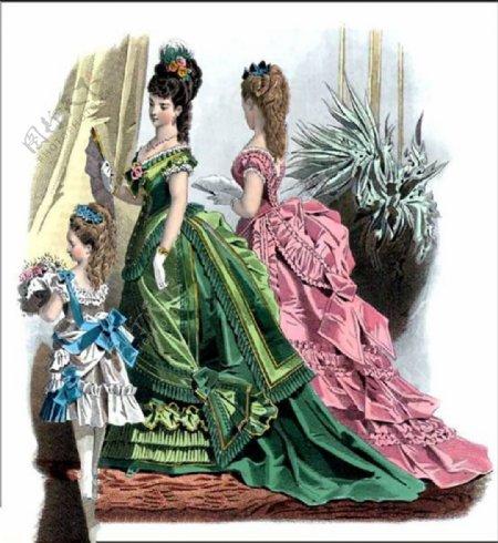 欧洲风格母女亲子装长裙设计图