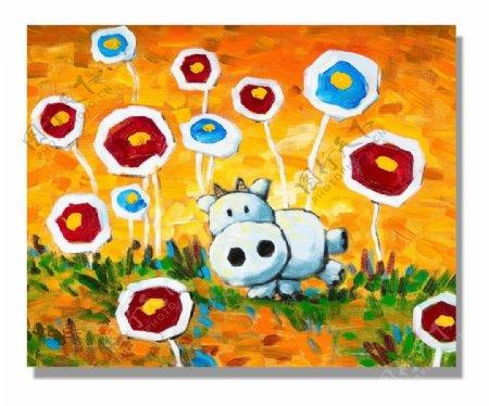 卡通小牛油画