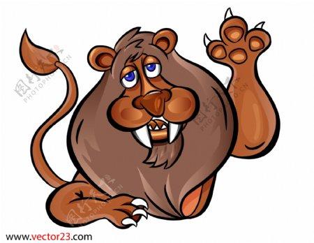 褐色动物卡通狮子