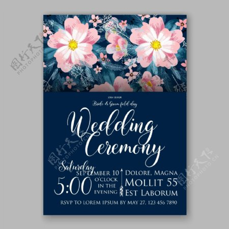 绽放的花朵婚礼请贴模板下载