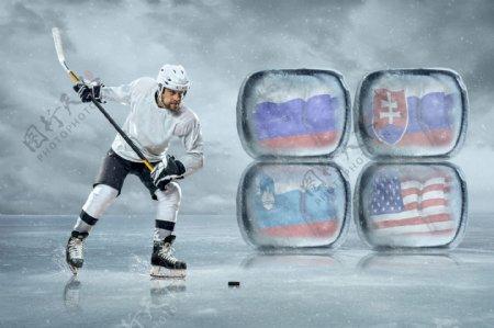 打击冰球的运动员和国旗图片