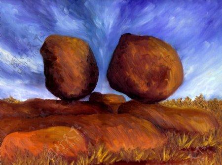 大石头油画图片