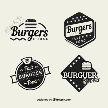 复古风格汉堡包餐厅贴纸
