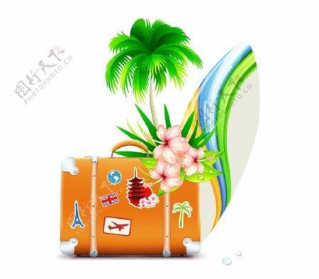 椰树和旅行箱