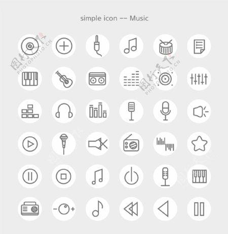 矢量线框音乐素材图标