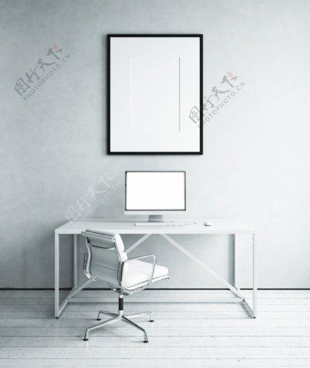 书桌上的IMAC电脑图片