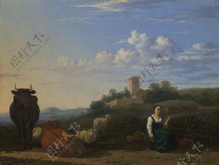 建筑牛羊和欧洲美女风景画图片