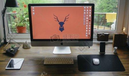 苹果iphone办公桌办公技术iPad的iMac电脑样机台式机工作工作站屏幕