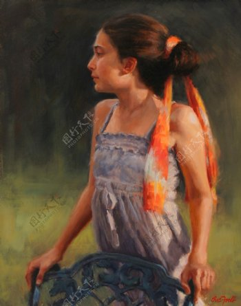 欧美女人油画肖像图片
