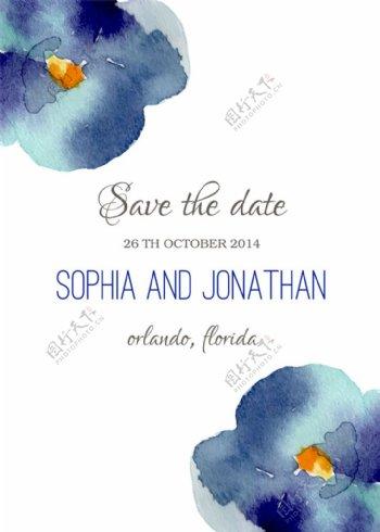 蓝色水墨花朵婚礼请贴图片
