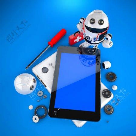 Android机器人修复平板电脑