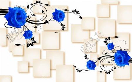 3D蓝玫瑰