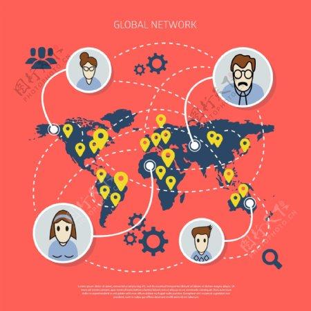 通讯地球矢量图