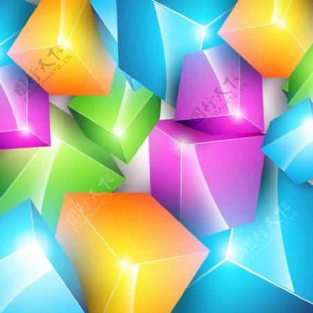 彩色结晶3D立方体背景