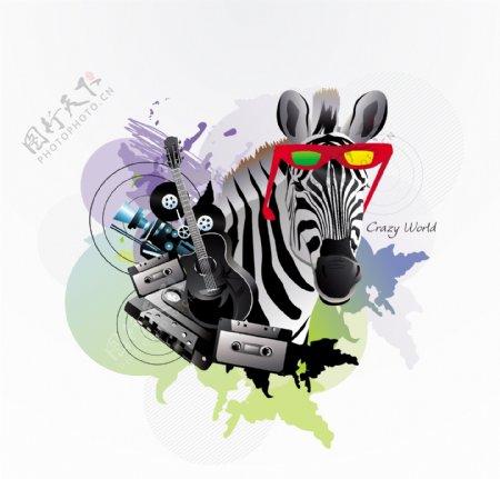 斑马与音乐素材