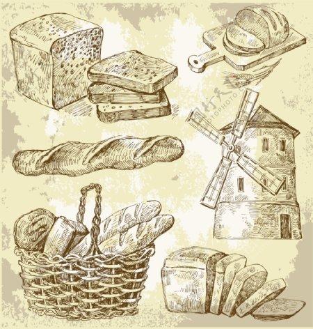 素描乡村的面包矢量图形下载