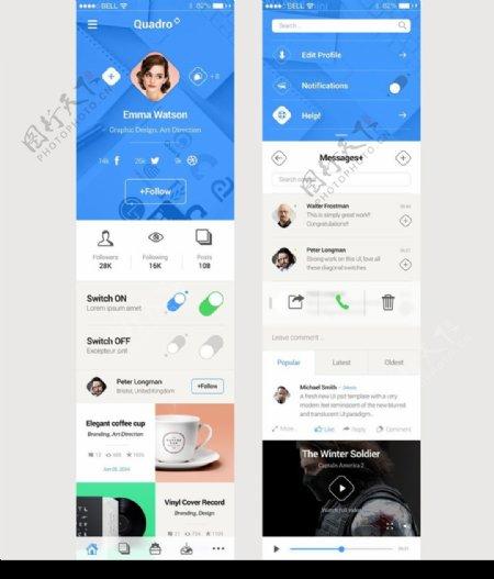 蓝色风格手机界面UI元素素材