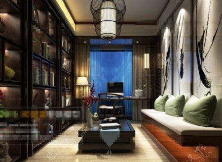 书房空间3D模型素材