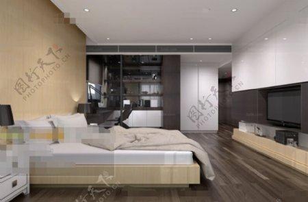 卧室空间展示设计3D模型素材免费下载