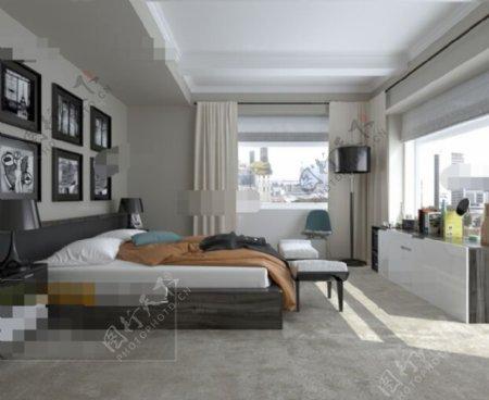免费卧室空间效果3D模型素材