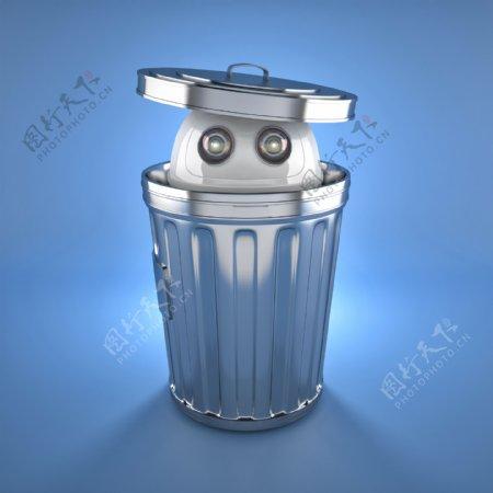 Android机器人在垃圾桶