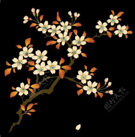 褐色花朵树枝背景图