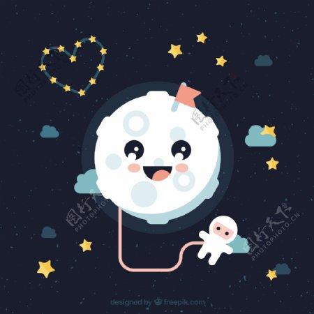 可爱的月亮与宇航员插图背景