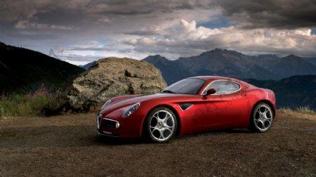 红色豪华轿车摄影图片